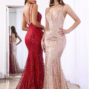 Rose-Gold Fitted Long Prom Dress C25